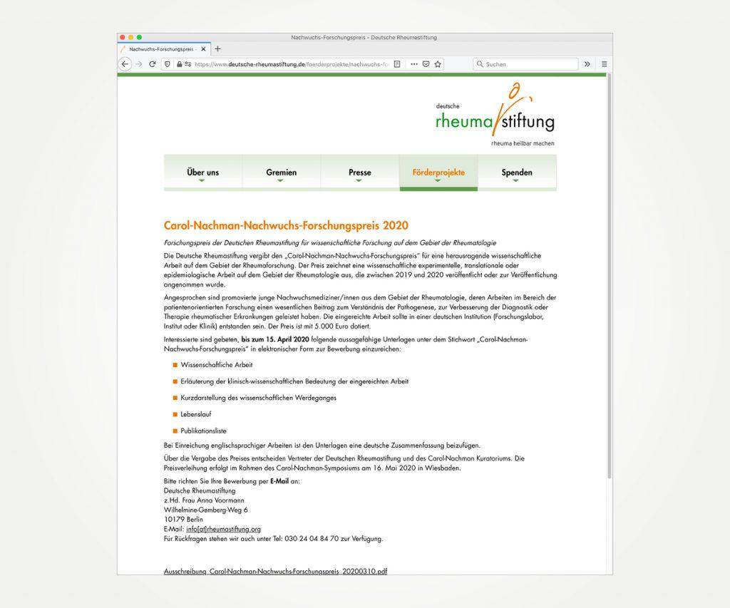 Website »www.deutsche-rheumastiftung.de«