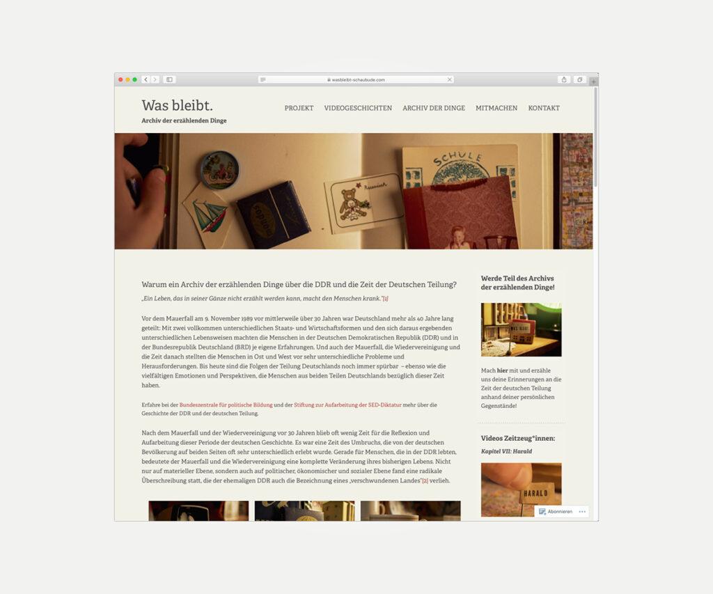 Website »wasbleibt-schaubude.com«